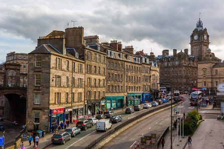 Edinburgh, Scotland - September 11, 2016: view of Leith Street in the old town with unidentified people. The old town with many Reformation-era buildings is protected by UNESCO World Heritage Site