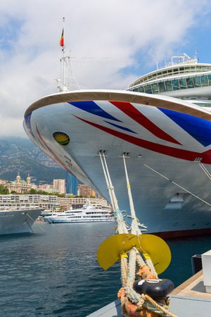 ship bow: Monaco, Monaco - July 30, 2016: cruise ship MV Azura in the port of Monaco. MV Azura is the second largest of eight ships currently in service with PandO Cruises Editorial
