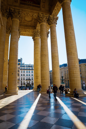 Paris, France - October 16, 2016: Pantheon with unidentified people in Paris. Originally a church it now functions as a secular mausoleum containing the remains of distinguished French citizens Editorial