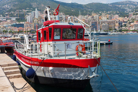 Monaco, Monaco - July 30, 2016: boat of the office of naval affairs in the port of Monaco. Monaco is a sovereign city-state and microstate, located on the French Riviera in Western Europe Editorial