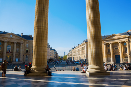 secular: Paris, France - October 16, 2016: Pantheon with unidentified people in Paris. Originally a church it now functions as a secular mausoleum containing the remains of distinguished French citizens Editorial