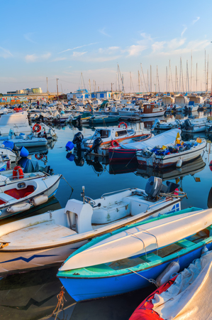 seaports: Livorno, Italy - July 01, 2016: sailboats in the marina of the Port of Livorno. The Port of Livorno is one of the largest Italian seaports and one of the largest seaports in the Mediterranean Sea