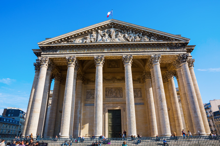 corinthian column: Paris, France - October 16, 2016: Pantheon with unidentified people in Paris. Originally a church it now functions as a secular mausoleum containing the remains of distinguished French citizens Editorial