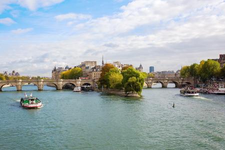 Paris, France - October 19, 2016: Ile de la Cite in Paris. Ile de Cite is a Seine Island, it is the centre of Paris and the location where the medieval city was refounded.