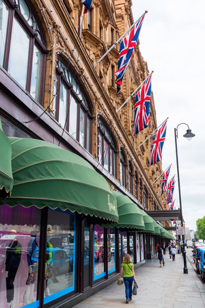knightsbridge: London, UK - June 21, 2016: Harrods in London, with unidentified people. It is the best known department store of London. Editorial