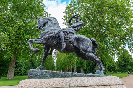 george: London, UK - June 21, 2016: bronze sculpture Physical Energy at Kensington Gardens in London. It is a bronze sculpture by English artist George Frederic Watts
