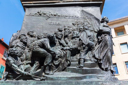 socle: Pisa, Italy - June 30, 2016: relief at the socle of the Garibaldi Statue. Giuseppe Garibaldi was an Italian general, politician and nationalist who played a large role in the history of Italy