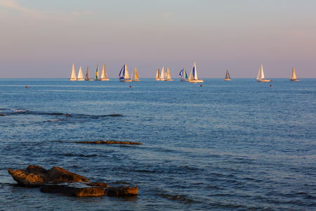 seaports: Livorno, Italy - July 01, 2016: seaview at Livorno. Livorno is a port city on the Ligurian Sea with one of the largest seaports in the Mediterranean Sea Editorial
