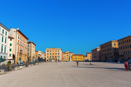 livorno: Livorno, Italy - July 01, 2016: Piazza della Repubblica with unidentified people. It is the biggest Piazza in Livorno, situated at the far end of Via Grande. It is also a major traffic hub