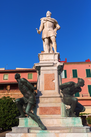 livorno: Livorno, Italy - July 01, 2016: Monument of the Four Moors in Livorno. It was completed in 1626 to commemorate the victories of Ferdinand I of Tuscany over the Ottomans Editorial