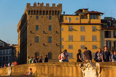 elliptic: Florence, Italy - July 03, 2016: Ponte Santa Trinita with unidentified people. It is a Renaissance bridge in Florence over the Arno. It is the oldest elliptic arch bridge in the world