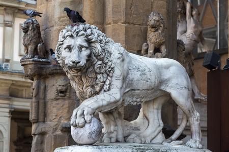 Medici Lion sculpture at the Loggia dei Lanzi, Florence, Italy