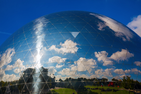 Paris, France - October 15, 2016: La Geode in the Parc de la Villette. Its a mirror-finished geodesic dome with an Omnimax theatre at the Cite des Sciences et de l Industrie