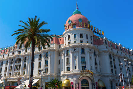 le: Nice, France - July 25, 2016: Hotel Le Negresco in Nizza, France. It is a luxury hotel, built in the style of Belle Epoque, opened 1912. The dome was constructed by Gustave Eiffel.