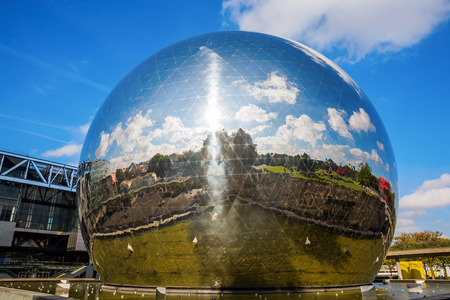 Paris, France - October 15, 2016: La Geode in the Parc de la Villette. Its a mirror-finished geodesic dome with an Omnimax theatre at the Cite des Sciences et de l Industrie
