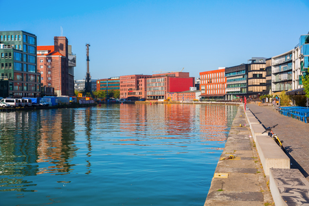 Muenster, Germany - September 27, 2016: waterfront Muenster. The Muenster harbor is an inland harbor. After declining of transportations by ship the area is changing now more to cultural usage Editorial