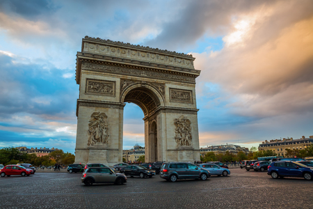Paris, France - October 20, 2016: Arc de Triomphe in Paris, France, with unidentified people. It is one of the most famous monuments in Paris, standing at the center of Place Charles de Gaulle