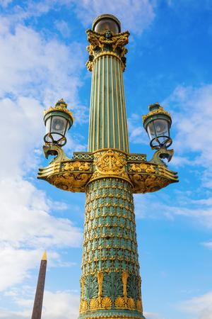 Antique Street Lamp On The Place De La Concorde In Paris, France Photo