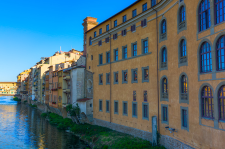 river arno: old city buildings along the river Arno in Florence, Tuscany, Italy Stock Photo