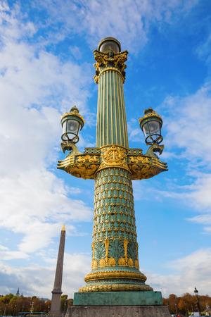 concorde: antique street lamp on the Place de la Concorde in Paris, France Stock Photo
