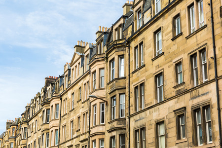 facades of typical old city buildings in Edinburgh, Scotland, UK Stock Photo