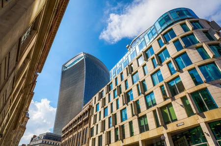 London, UK - June 17, 2016: skyscraper 20 Fenchurch Street in London, completed 2014, 34-storey and 160 m tall, 12th tallest in London, designed by architect Rafael Vinoly, nicknamed Walkie-Talkie