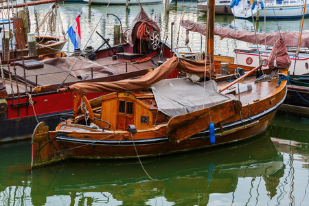 antique sailboat in the harbor of Enkhuizen, Netherlands Stock Photo