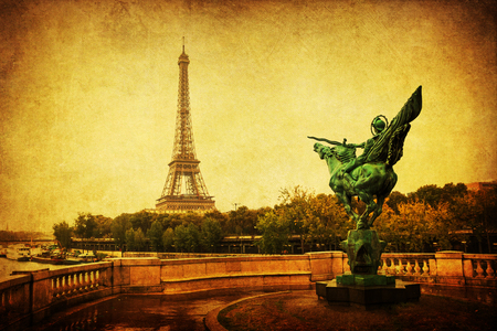 vintage style picture of the Eiffel Tower in Paris, France Stock Photo