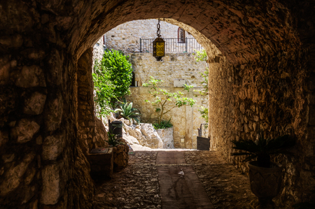 alpes: underpass in the picturesque mountain village Eze, South France Stock Photo
