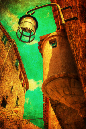 maritimes: vintage style picture of a picturesque steep alley in Eze, France Stock Photo