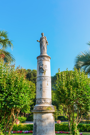 livorno: historic column at a park in front of the central station in Livorno, Italy