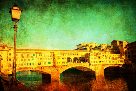 ponte: vintage style picture of the Ponte Vecchio in Florence, Italy