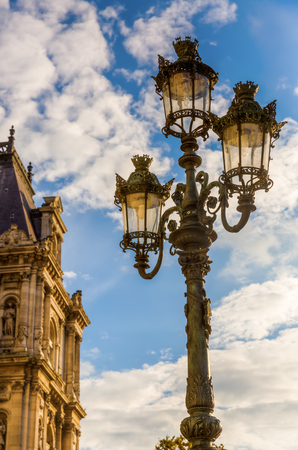 Antique Street Lamp In Front Of The Hotel De Ville In Paris, France Stock  Photo