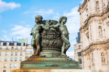 historic sculptures in front of the Hotel de Ville in Paris, France