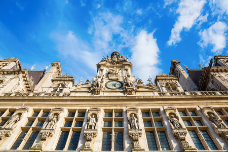 ville: front facade of the Hotel de Ville in Paris, France