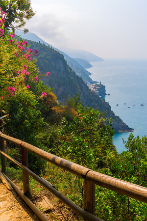 hiking path: view from coastal hiking path to Vernazza, Cinque Terre, Italy