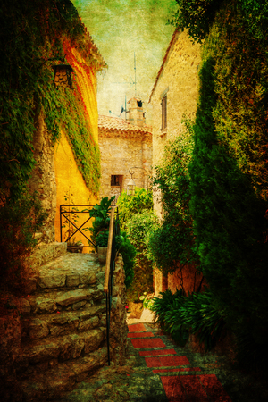 maritimes: vintage style picture of an alley in the picturesque mountain village Eze, France