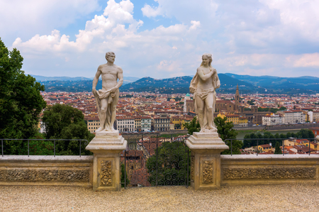 Florence, Italy - July 06, 2016: Giardino Bardini with aerial view over Florence. Its an Italian Renaissance garden opened only recently to the public, it is relatively little-known. Editorial