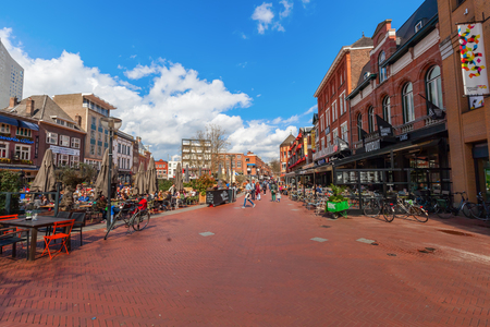 Eindhoven, Netherlands - April 12, 2016: shopping street in Eindhoven with unidentified people. With about 225,000 inhabitants its the 5th-largest municipality of Netherlands