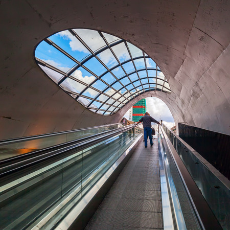 north brabant: Eindhoven, Netherlands - April 12, 2016: escalator to a bicycle parking with unidentified people. With about 225,000 inhabitants its the 5th-largest municipality of the Netherlands