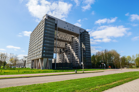 utrecht: Utrecht, Netherlands - April 20, 2016: modern residential building at Cambridgelaan. The university city Utrecht is the 4th largest city of Netherlands and capital of the same named province