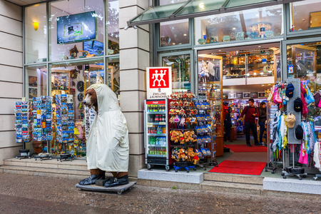 Berlin, Germany - May 17, 2016: souvenir shop in Berlin, with unidentified people. Berlin, capital of Germany, has about 3.5 mio inhabitants and is a global city of culture, politics, media, sciences