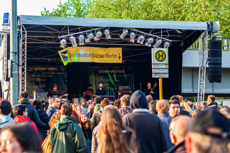 Berlin, Germany - May 15, 2016: street festival in Kreuzberg with unidentified people. Berlin, capital of Germany, about 3.5 mio inhabitants, is a global city of culture, politics, media, sciences