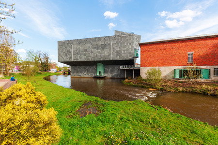 Eindhoven, Netherlands - April 12, 2016: new extension of the Van Abbemuseum. Its a museum of modern and contemporary art. The extension was designed by Abel Cahen, inaugurated 2003 by Queen Beatrix