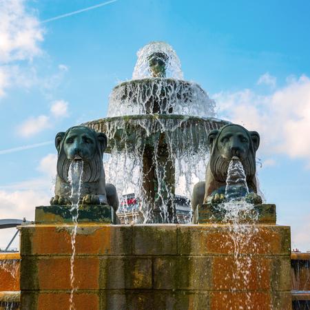 Paris, France - October 15, 2016: fountain in the Parc de la Villette. Its the 3rd-largest park in Paris that houses one of the largest concentration of cultural venues in Paris
