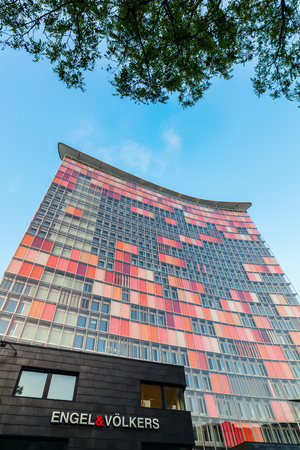 Berlin, Germany - May 15, 2016: GSW Tower in Berlin. It is the head office of the GSW Immobilien AG. The tower is 81,5 m high