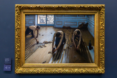 france station: Paris, France - October 19, 2016: painting of Caillebotte in the Musee dOrsay, Paris. It houses in the former Gare dOrsay, a Beaux-Arts railway station. It is one of the largest museums in Europe Editorial