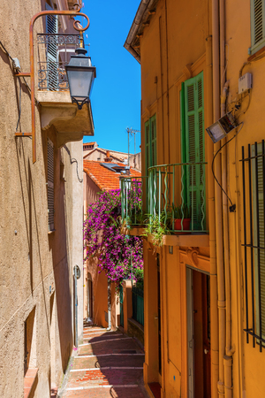 picturesque alley in the old town of Cannes, France Stock Photo