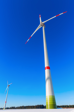 picture of a wind turbine against blue sky Stock Photo