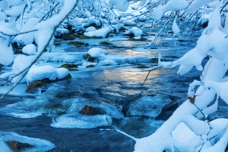 benelux: picture of a winter landscape with a mountain stream